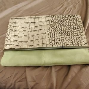 Mint Colored Suede Clutch